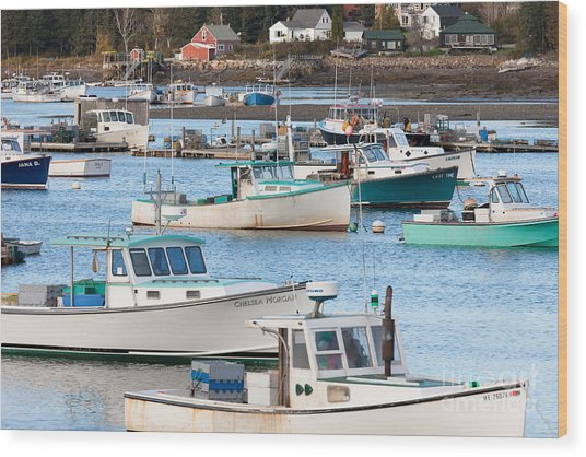 Lobster Boats In Bass Harbor I Wood Print