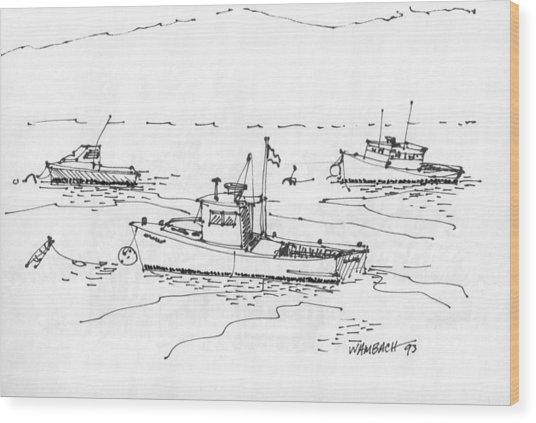 Lobster Boats Monhegan Island 1993 Wood Print