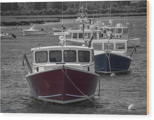 Lobster Boats Selective Color Wood Print