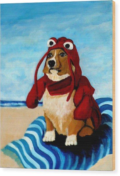 Lobster Corgi On The Beach Wood Print