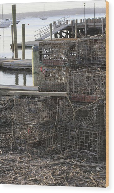 Lobster Pots Northport New York Wood Print