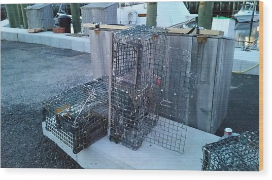 Lobster Traps Wood Print
