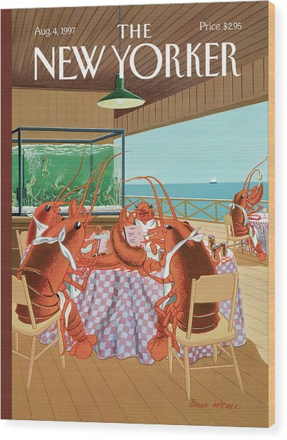 Lobsterman's Special Wood Print by Bruce McCall