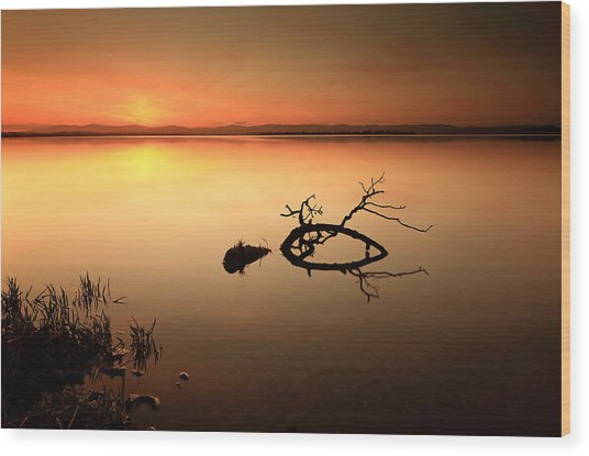 Loch Leven Sunset Wood Print