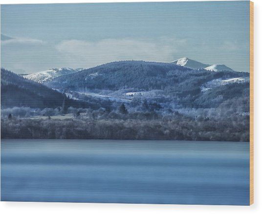 Loch Ness Winter Blues Wood Print