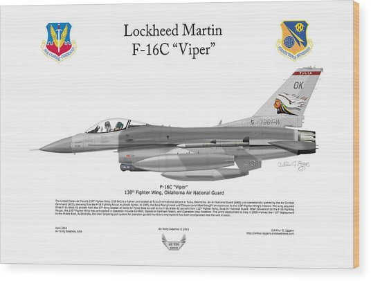 Lockheed Martin F-16c Viper Wood Print by Arthur Eggers