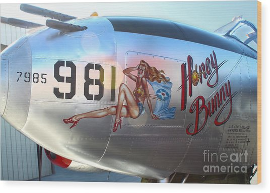 Lockheed P-38l Lightning Honey Bunny Nose Art - 05 Wood Print