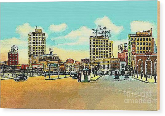 Loew's Jersey Theatre On Journal Square In Jersey City N J In The 1930s Wood Print