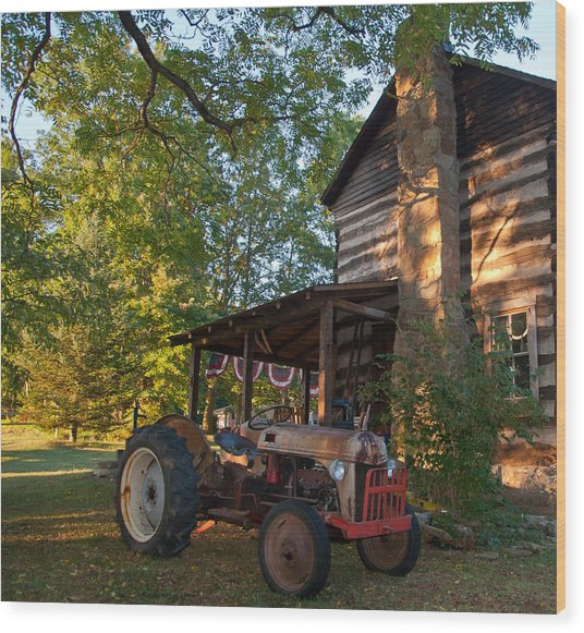 Log Cabin And Tractor Wood Print by Nickaleen Neff