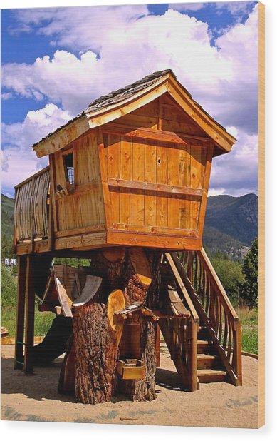 Log Cabin Penthouse Wood Print