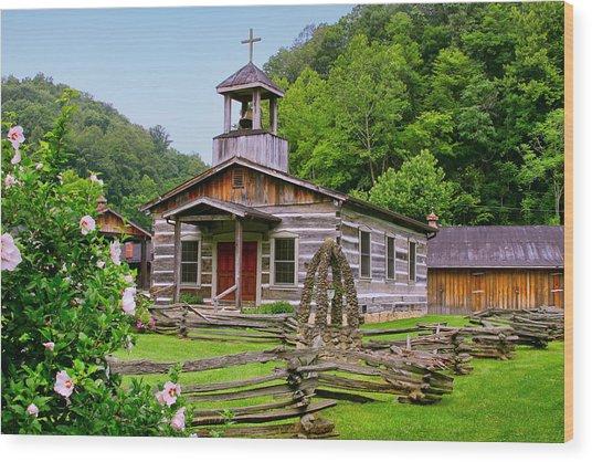 Log Church Wood Print