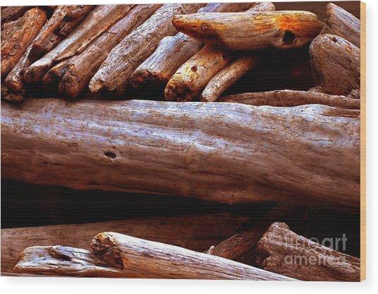 Log Pile Wood Print by Phillip Garcia