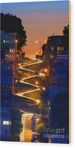 Lombard Street Depth Into The Darkness Of Light Wood Print