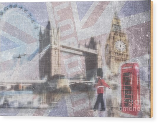 London Blue Wood Print
