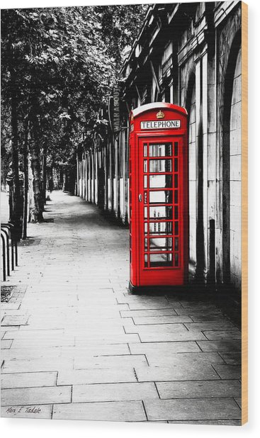 Wood Print featuring the photograph London Calling - Red Telephone Box by Mark E Tisdale