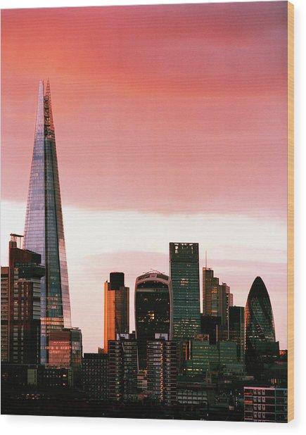 London City Skyline At Sunset - Wood Print by Shomos Uddin