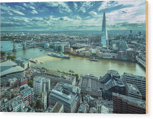 London Cityscape Wood Print by Peter Zelei Images