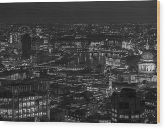 London City At Night Black And White Wood Print