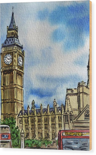 London England Big Ben Wood Print