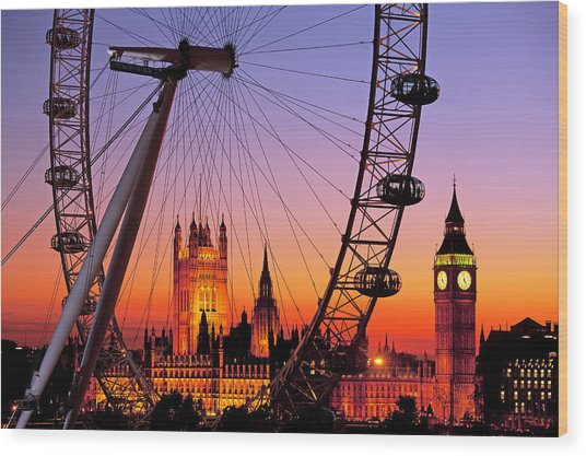 London Eye And Big Ben At Dusk Wood Print by Scott E Barbour