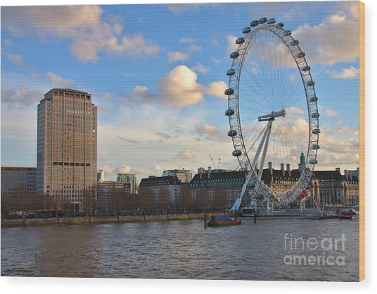 London Eye And Shell Building Wood Print