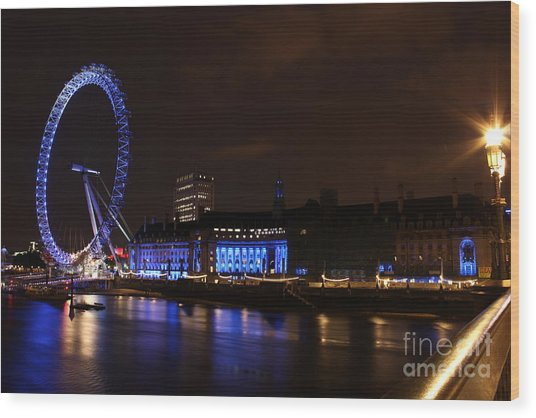 London Eye At Night Wood Print