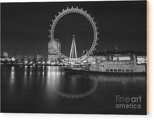 London Eye Mono Wood Print