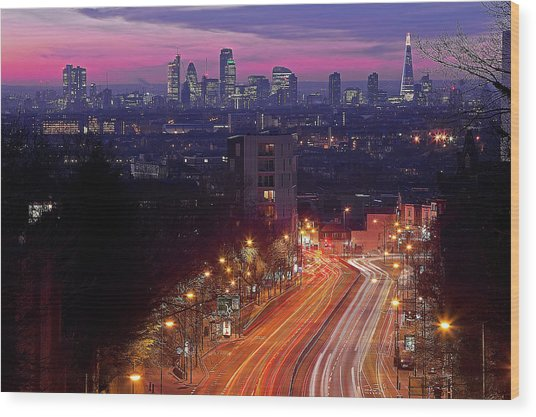 London From The Hornsey Lane Bridge Wood Print by By Andrea Pucci
