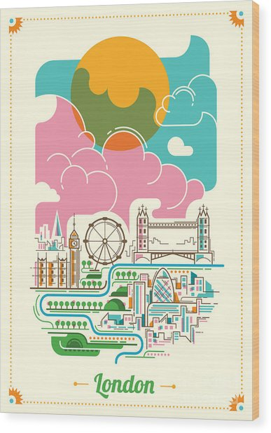 London Illustration In Color. Vector Wood Print
