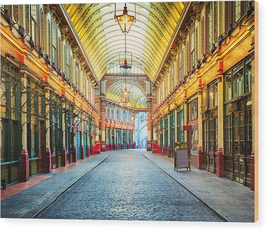 London Leadenhall Hall Market Street Arcade Wood Print by NicolasMcComber