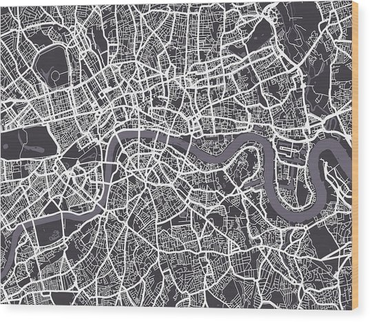 London Map Art Wood Print