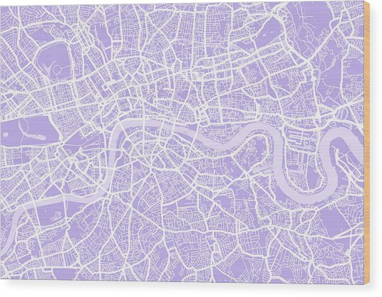 London Map Lilac Wood Print