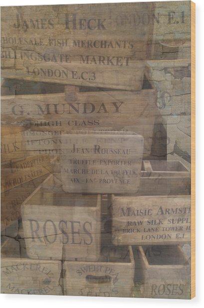 London Market Traders Crates Wood Print