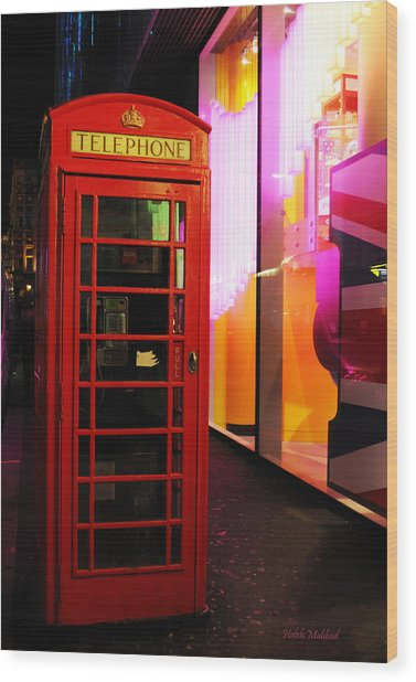 London Red Phone Booth Wood Print