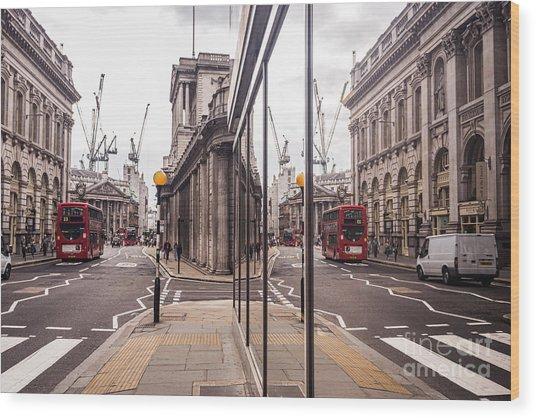 London Reflected Wood Print