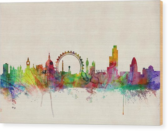 London Skyline Panoramic Wood Print