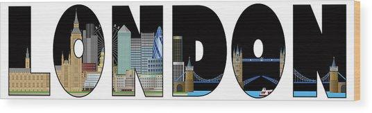 London Skyline Text Outline Color Illustration Wood Print