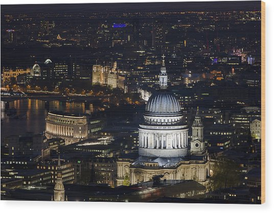 London St Pauls At Night Colour Wood Print