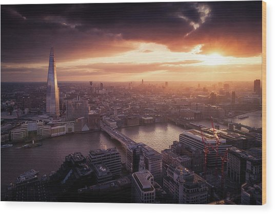 London Sunset View Wood Print by Dennis Fischer Photography