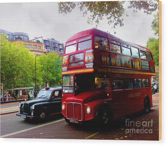 London Taxi And Bus Wood Print