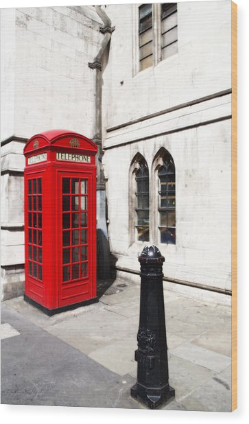 London Telephone Box Wood Print