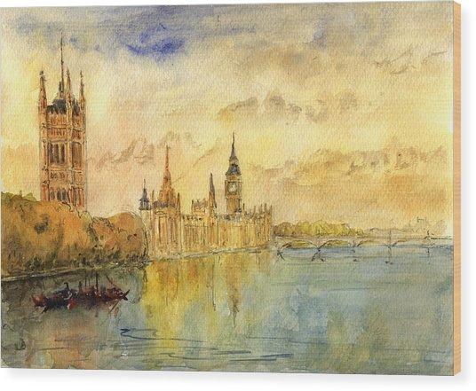 London Thames River Wood Print