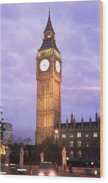 London Time Wood Print