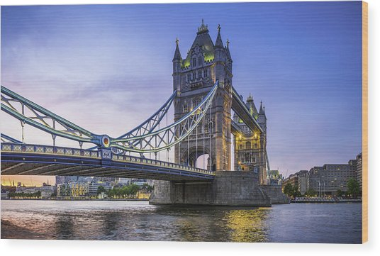 London Tower Bridge Illuminated At Sunset Over River Thames Panorama Wood Print by fotoVoyager
