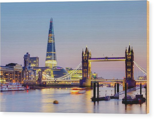 London, Tower Bridge, The Shard And Wood Print by Alan Copson