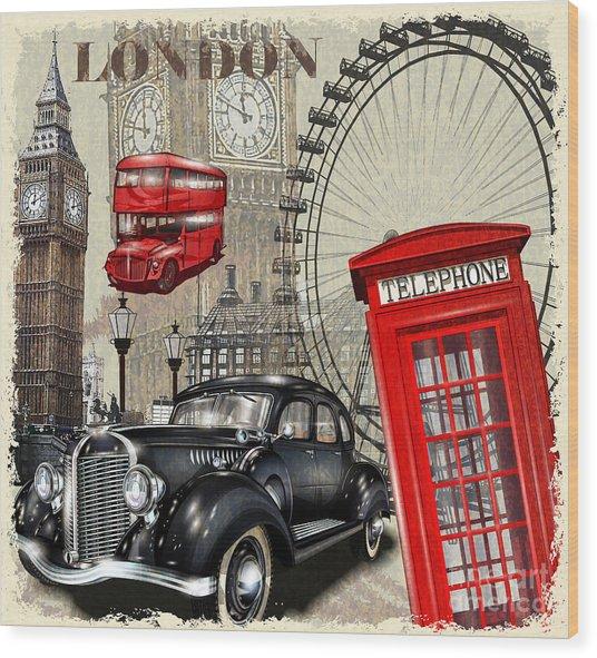 London Vintage Poster Wood Print