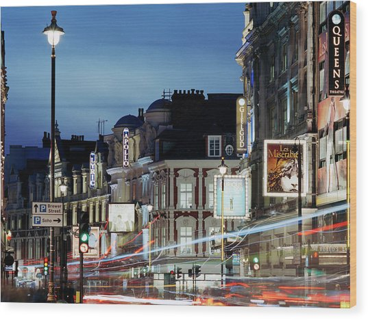 Londons Shaftesbury Avenue At Dusk Wood Print by Shomos Uddin
