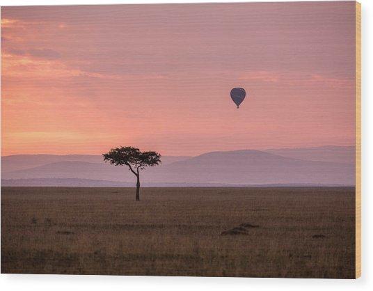 Lone Balloon Over The Masai Mara Wood Print