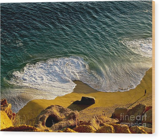 Lone Hiker At Sunset On Secluded Beach At Cabo San Lucas Wood Print