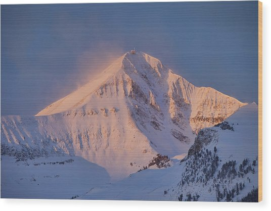 Lone Peak Alpenglow Wood Print